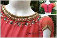 Princess :)BLOUSE CODE: B0113Kindly inbox/ email for price details Call / Whatsapp/ Viber: 9894614882Email: shrishas.sai@gmail.comShipping worldwideDelivery within 5 working Days  26 March 2017 Blouse Designs High Neck, Simple Blouse Designs, Neck Designs For Suits, Embroidery Works, Hand Embroidery Designs, Mirror Work Blouse, Maggam Work Designs, Designer Blouse Patterns, Inbox Email