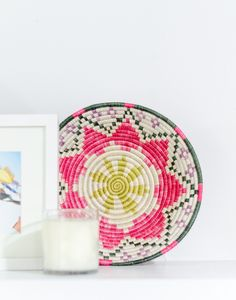 Fair Trade, Hand-woven Pink Fruit & Décor Bowl