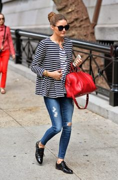 Olivia Palermo in New York - Stripes on stripes, distressed denim and the Sophia Coppola bag from Louis Vuitton
