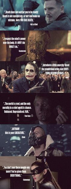Quotes from the villains (or heroes) of The Dark Knight trilogy