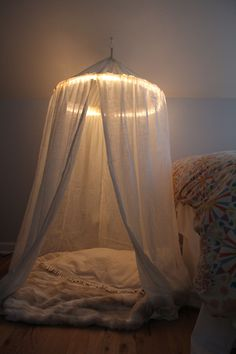 DIY lit play tent/reading nook! I'll have room when she doesn't need her rocker anymore.