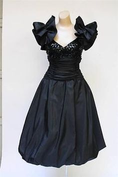 1980'S PROM DRESS MISTER JAY BLACK BLING SEQUINS PARTY COCKTAIL DRESS