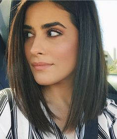 sleek/straight look, longer in front