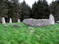 The Three Upright Stones, the Recumbent Stone, and the Flanker Stone of the Aikey Brae Stone Circle, Aberdeenshire, Scotland