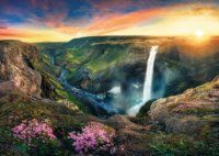 Legend of Haifoss. Haifoss waterfall, the second highest waterfall of the island, situated near the volcano Hekla in the south of Iceland. The river Fossá, a Beautiful Waterfalls, Beautiful Landscapes, It Goes Like This, Largest Waterfall, Canada Images, Desktop Pictures, Green Landscape, Wild Nature, Natural Wonders