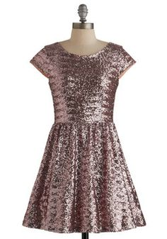 Shimmer and Sparkle Dress. For a look with stunning distinction, don this glimmering sequined A-line! #pink #prom #modcloth
