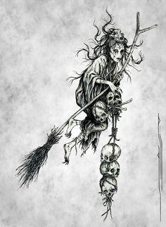 Twisted Dark Art Gallery — artagainstsociety: Witch by Elias Aquino Arte Horror, Horror Art, Gothic Horror, Tattoo Drawings, Body Art Tattoos, Art Drawings, Dark Art Tattoo, Creepy Tattoos, Sleeve Tattoos