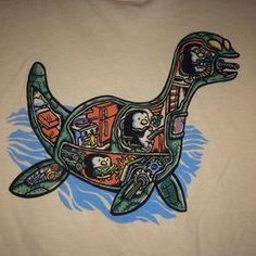 Woot Tops - Woot Penguin Loch Ness Monster Cartoon Tan Shirt