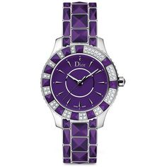 Dior Christal Diamond, Purple Sapphire Crystal & Stainless Steel... (582.240 RUB) ❤ liked on Polyvore featuring jewelry, watches, apparel & accessories, water resistant watches, diamond bracelet, diamond bezel bracelet, diamond bezel watches and purple jewelry