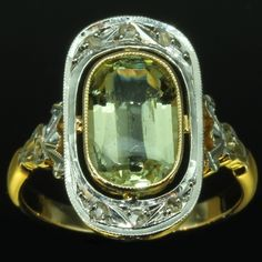 French Estate Art Deco Interbellum ring with diamonds and chrysoberyl
