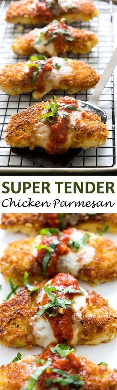 The BEST Chicken Parmesan. A quick and easy 30 minute weeknight meal everyone will love! The BEST Chicken Parmesan. A quick and easy 30 minute weeknight meal everyone will love! Think Food, I Love Food, Good Food, Yummy Food, Comida Diy, Great Recipes, Favorite Recipes, Amazing Recipes Dinner, Quick And Easy Recipes