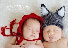 2 baby boy/girl twin knitted red riding hood and wolf hats, newborn photography prop, red pixie hat, wolf beanie. $35.99, via Etsy.
