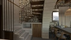 Renovation of a traditional stone house. Chania, Greece. Interior design, stairs, Stone, Traditional,