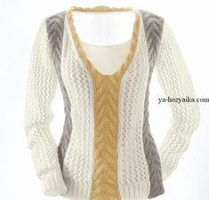 Пуловер спицами с косой. Пуловер с V-образным вырезом описание