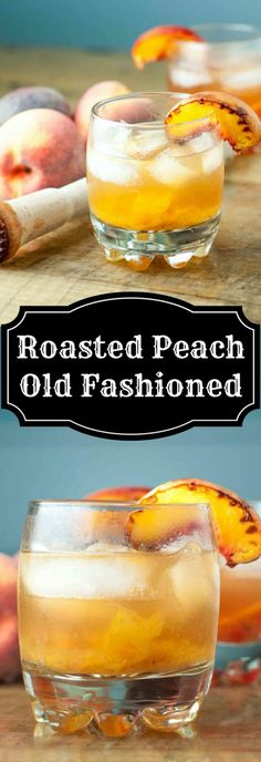 Roasted peach Old Fashioned Roasted Peach Old Fashioned cocktail combines caramelized roasted peaches, orange bitters, and bourbon whiskey to make a classic drink even better. Bourbon Cocktails, Whisky Cocktail, Classic Cocktails, Cocktail Drinks, Cocktail Recipes, Bourbon Whiskey, Scotch Whiskey, Drink Recipes, Peach Whiskey