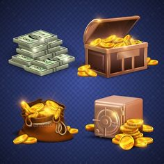 Casino vector 3d signs and money icons. Dollars, gold coins in safe deposit and moneybag. Golden heap coins in box, illustration o