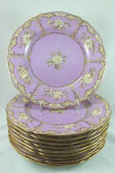 Lavender RARE Set 11 Copeland Spode China Y122 Dinner Plates Gold Floral Mint
