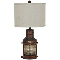Crestview Collection Crestview Rubbed Copper Lantern Table Lamp and... (€170) ❤ liked on Polyvore featuring home, lighting, table lamps, brown, copper lights, copper lantern, brown lamps, copper lamp and copper table lamp