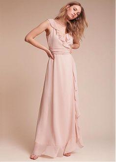 Buy discount Fashionable Chiffon V-neck Neckline Floor-length A-line Bridesmaid Dresses With Sash at Dressilyme.com