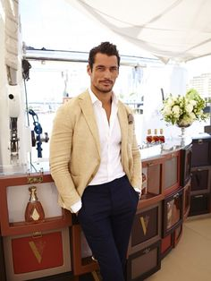 David Gandy in cream Thom Sweeney linen blazer, navy chinos, white shirt