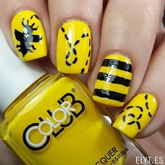 """repost via @instarepost20 from @nails_by_soffis  Freehand Bee nails guys!   I used as base this pastel yellow colour (perfect for Spring) with a superb coverage called Color Club """"Almost Famous"""" available at  @entrelazosytelas @entrelazosytelas  (My favourite nail art store online  Use my code SOFFIS for a 15%off in your purchases at WWW.ELYT.ES). Take a look at their Instagram account  @entrelazosytelas and discover amazing discounts for your orders in your favourite Color Club polishes…"""