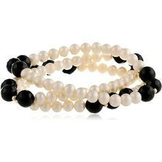 Three-Row Freshwater Cultured Pearl and Black Onyx Stretch Bracelet... ($21) ❤ liked on Polyvore featuring jewelry, bracelets, beads jewellery, freshwater pearl jewelry, stretch jewelry, fresh water pearl jewelry and gold plated bangles