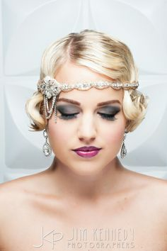 Vintage Inspired 20's bride with beaded crystal headband | Wedding hair and makeup | Georgia Syrengelas | Blush Bridal Couture | Swellegant | Jim Kennedy Photographers