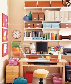 Your office can't spread out? Then go up: Make smart use of vertical wall space. | Trying to carve out a neat space of your own?Find inspiration in these photos.