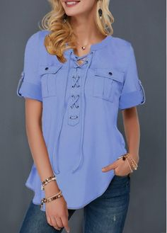 Stylish Tops For Girls, Trendy Tops, Trendy Fashion Tops, Trendy Tops For Women Trendy Tops For Women, Blouses For Women, Stylish Tops, Pocket Detail, Ladies Dress Design, Printed Blouse, Half Sleeves, Ideias Fashion, Lace Up