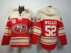 df3ab045c San Francisco 49ers No.52 Patrick Willis Red Sawyer Hooded Sweatshirt Men s Football  Jersey Stitch