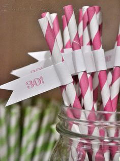 30th birthday straws