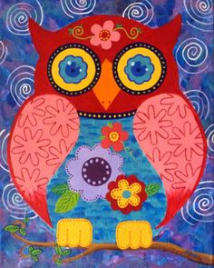 """11"""" x 14"""" Original Painting Whimsical Folk Art Owl on Stretched Canvas"""