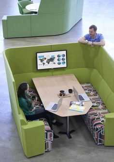 Acoustic seating & booths Away from the desk is a soft seating system which invites users away from the busy open plan workspace by creating stimulating individual upholstery spaces. Away from the desk seating can also include power & data & work surfaces at lounge, table or café height.