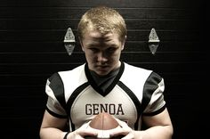 This is a environmental portrait of a high school football player from the little country town Genoa. It shows off his determination and power as a football player, with the dramatic lighting, which is actually clam shell lighting.