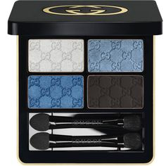 Gucci Ocean Rhapsody, Magnetic Color Shadow Quad ($62) ❤ liked on Polyvore featuring beauty products, makeup, eye makeup, eyeshadow, beauty, cosmetics, blue, filler, shadow brush and gucci