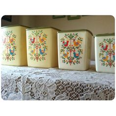 Vintage Canister Set Colorful Birds by BeardnLocks on Etsy
