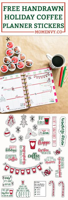 Free Christmas Coffee Planner Stickers and Die-Cuts. SVG, Silhouette, JPEG, and PNG files included.
