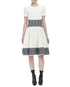 Short-Sleeve Contrast Jacquard Dress by Alexander McQueen at Neiman Marcus.