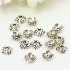8mm Antique Silver Bead Caps, Small Bead Caps, Flower Bead Caps, Tibetan Style…