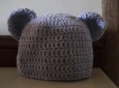 NEW WEBSITE !! www.bobwilson123.org: Crochet Baby to Adult Size Beanie with Bear Ears - Written pattern and video tutorial