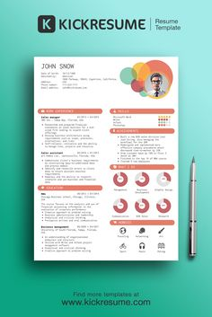 Create perfect resume in minutes and get hired www.kickresume.com [resume, creative resume, design, template, sample, infographic resume, cv, career, job search]