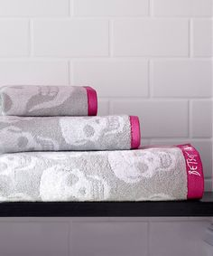 Look at this Gray Betsey Johnson Sculptured Hearts Towel Set on #zulily today!