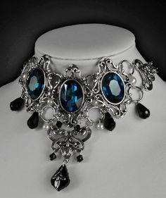 Dark Desires Cyan Gothic Victorian Choker Collar
