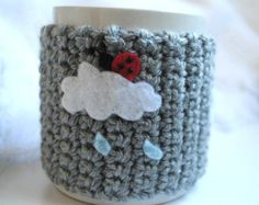 Cup Cozy - A BUG ON A MUG Cozy Ladybug on a Rainy Cloud