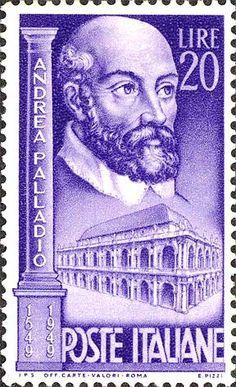 Emesso il 4 agosto 1949 20 L. - Ritratto di Andrea Palladio e palazzo della ragione, a Vicenza