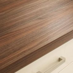American Pecan - suggested worktop - goes well with the two colours of kitchen doors and is hard wearing laminate - the smooth ones are too easy to damage First Kitchen, Kitchen Family Rooms, New Kitchen, Kitchen Ideas, Square Edge Worktop, Cream Shaker Kitchen, Home Kitchens, Cream Kitchens, Kitchen Doors