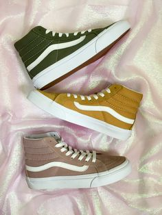 Nice Vans Shoes Olive, Amber and Fawn Mauve. Tenis Vans, Vans Sneakers, Vans Sk8, Vans Shoes, Vans Outfit, Mein Style, Next Clothes, Hot Shoes, Custom Shoes