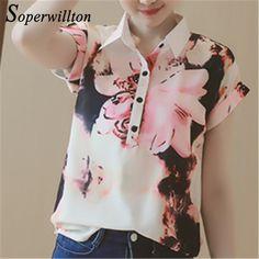 Barato Soperwillton 2016 Novas Mulheres Verão Blusa Floral Plus Size Chiffon Impresso Solto Blusas Femininas Camisas de Manga Curta Mulher # C314, Compro Qualidade Blusas diretamente de fornecedores da China:                                        Foto Real                 &