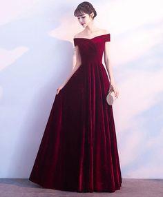 Burgundy v neck velvet long prom dress, evening dress M2435