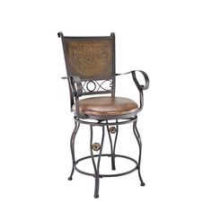 The Big & Tall Copper Stamped Back Bar Stool with Arms is designed to suit people large and small. The plush upholstered seat is generous in size, providing optimal comfort.